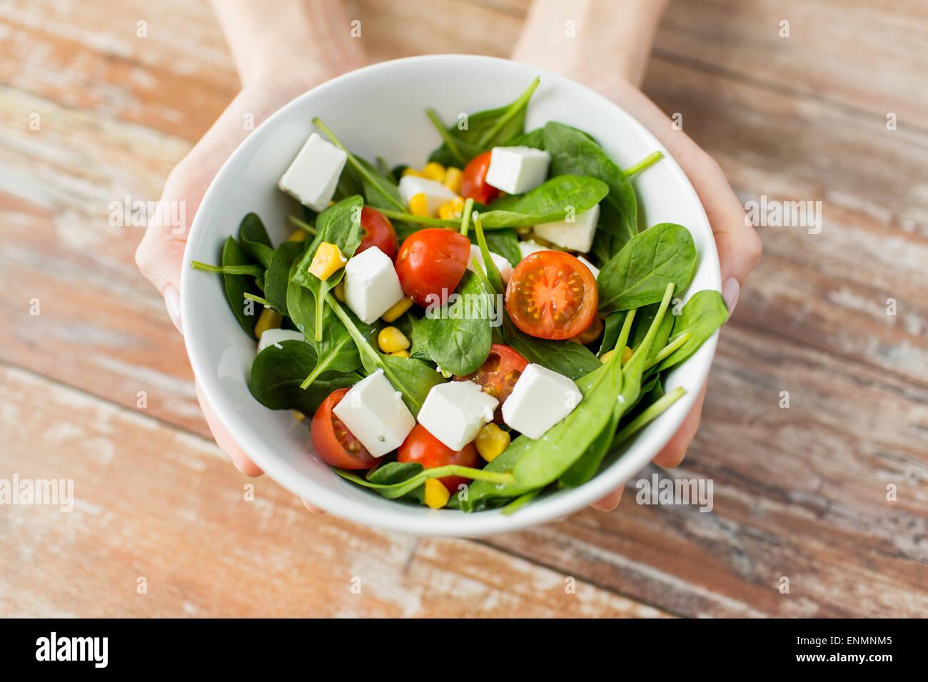 Nahaufnahme von junge Frau Hände zeigen Salatschüssel Stockbild