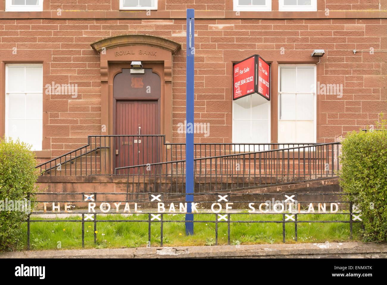 Die königliche Bank von Schottland, Drymen - Ländliche Zweig geschlossen und zum Verkauf Stockbild