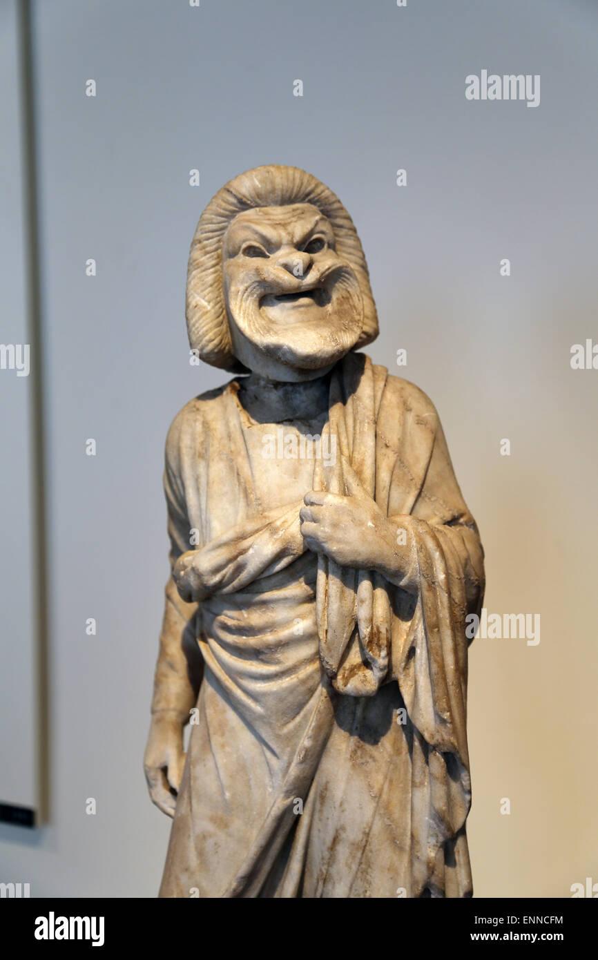 Marmorstatue eines Schauspielers. Roman, Kaiserzeit. 1. / 2. Jahrhundert n. Chr.. Alter Mann der Komödie. Metropolitan Stockbild