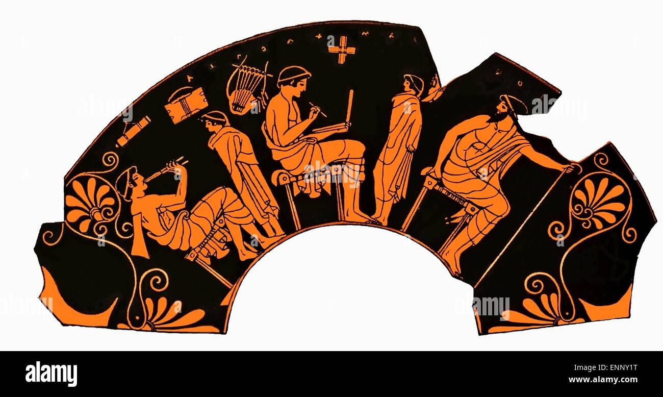 antiken griechischen vase darstellung einer schulstunde mit sch lerin spielt querfl te und. Black Bedroom Furniture Sets. Home Design Ideas