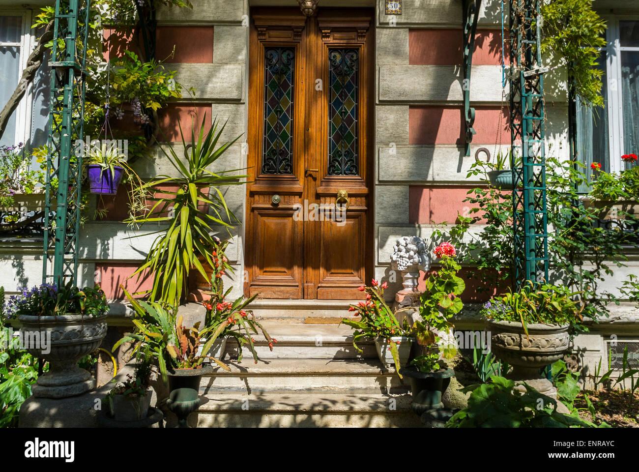Paris, Frankreich, Charenton-le-Pont, Vororte, Detail, Tür zu privaten Haus, Immobilien, Wohnhäuser Stockbild