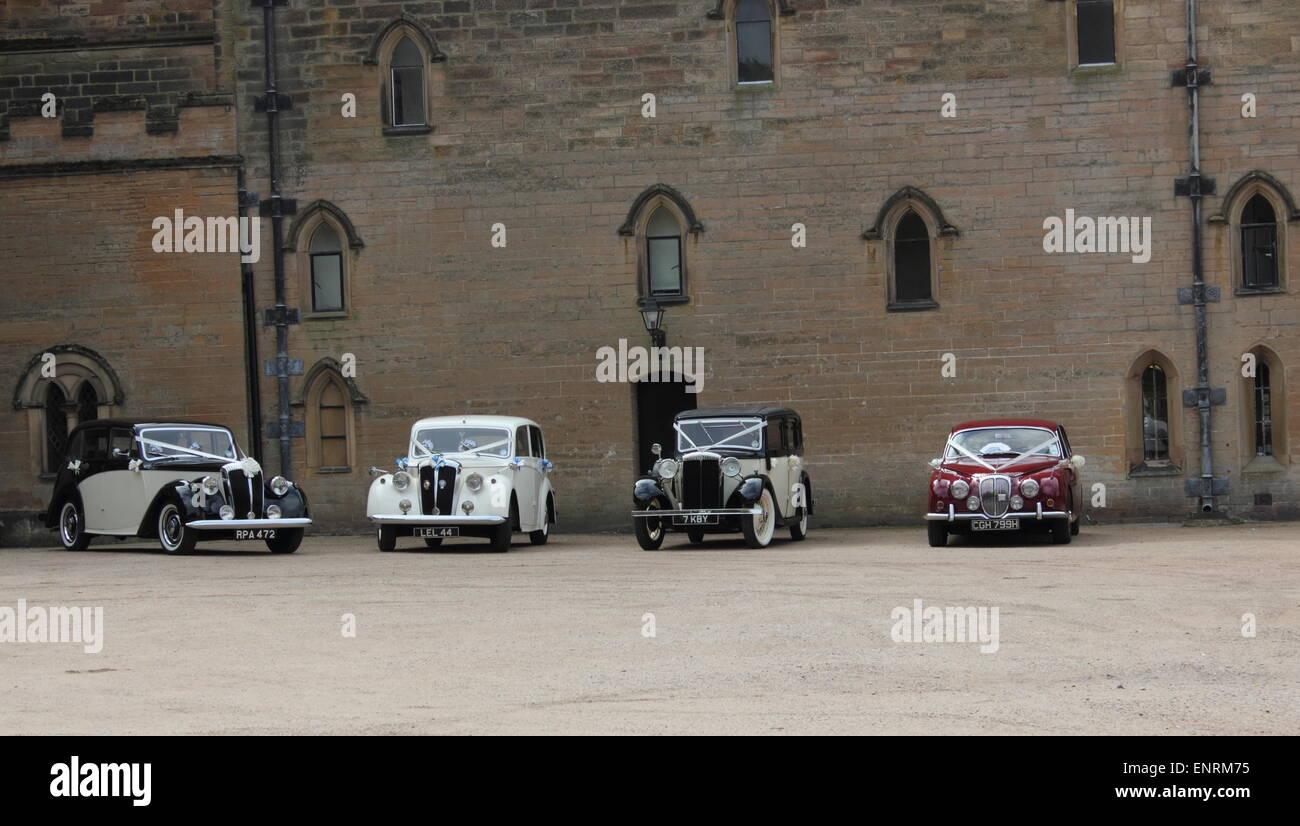 Newstead Abbey Hochzeit Veranstaltungsort klassische Oldtimer Stockbild