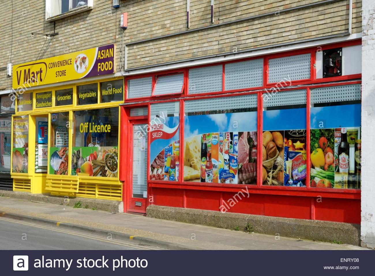 Der Supermarkt V Mart (asiatische Küche) und Polski Sklep (polnische ...
