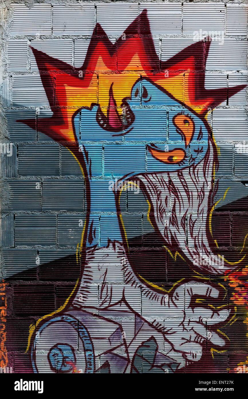 Das Gesicht mit der Zunge heraus, Folter, künstlerische Wandmalerei, street-Art, Palma de Mallorca, Mallorca, Stockbild