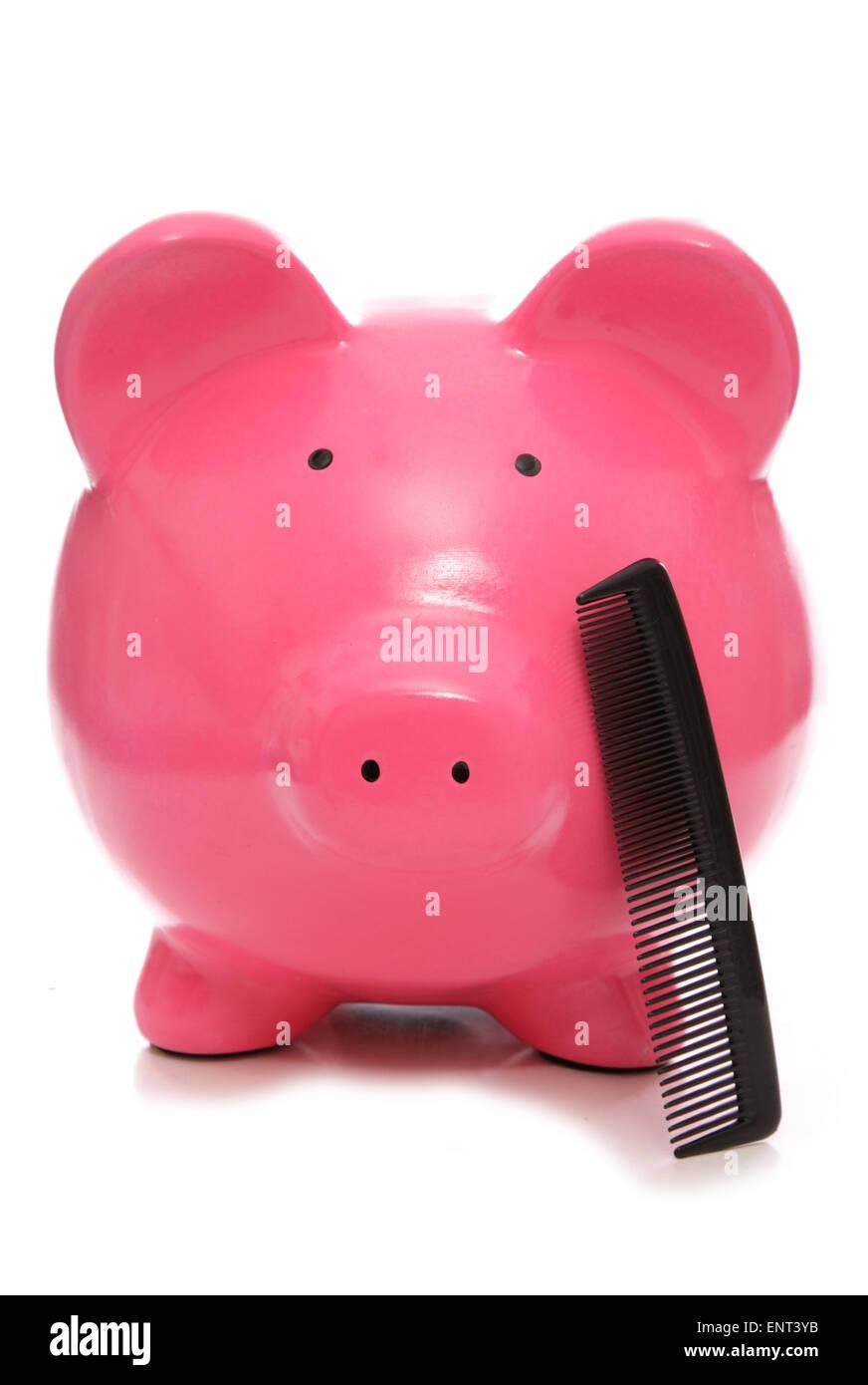 spart Geld bei den Haar-Kommoden-Ausschnitt Stockbild