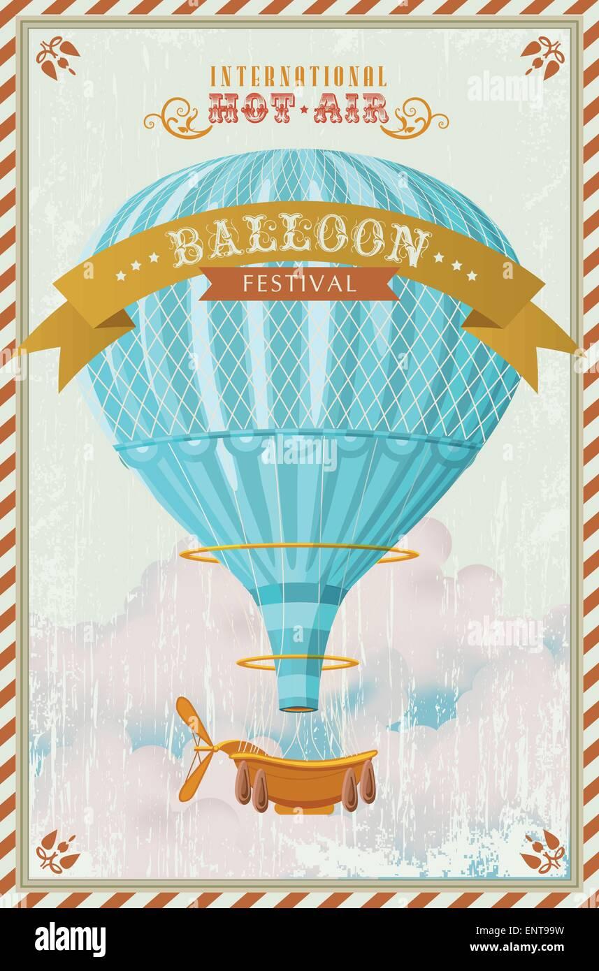 Vintage Heißluftballon in den Himmel-Vektor. Abbildung. Hintergrund ...