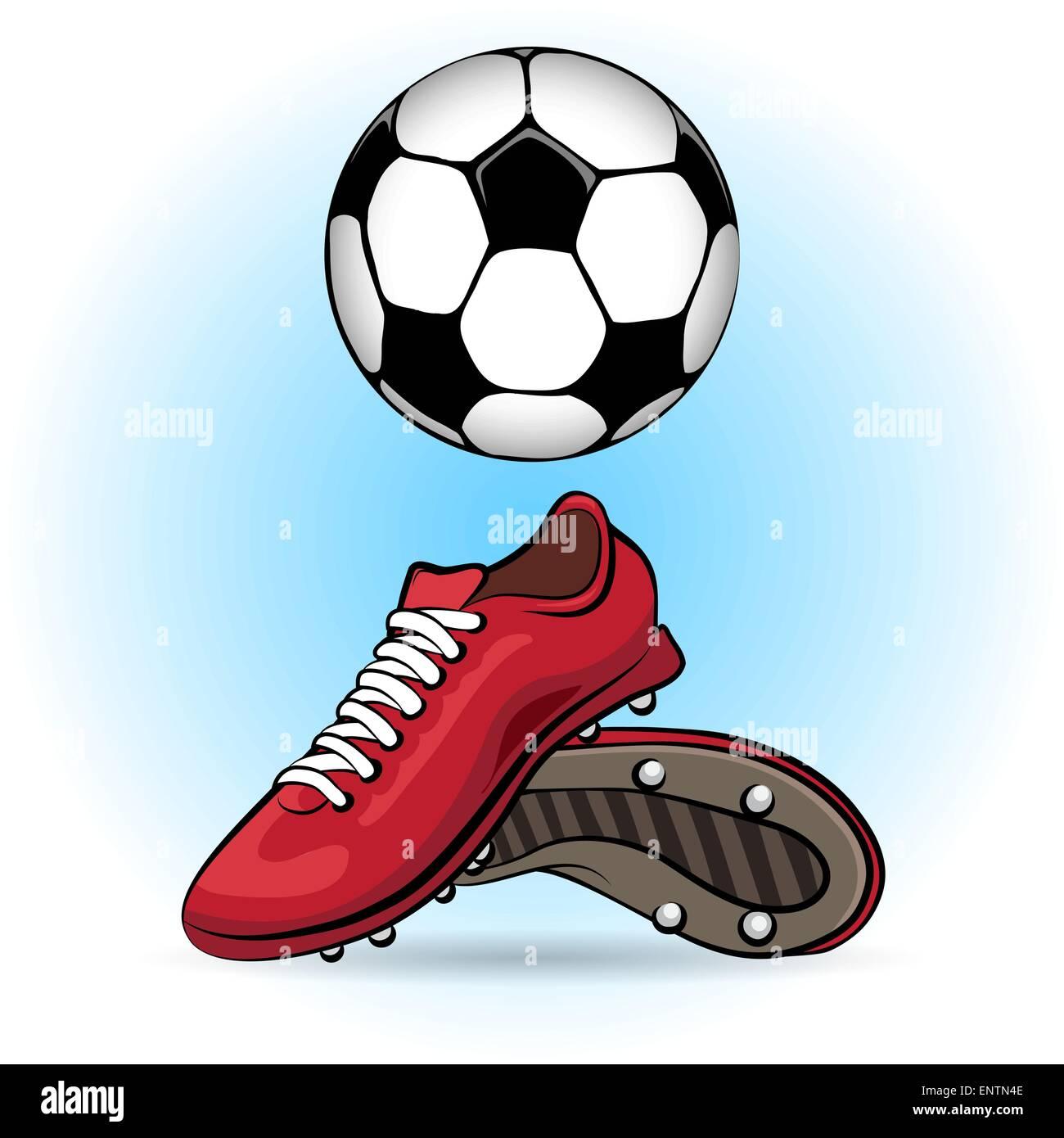Sportliche Schuhe Und Fussball Im Cartoon Stil Gezeichnet