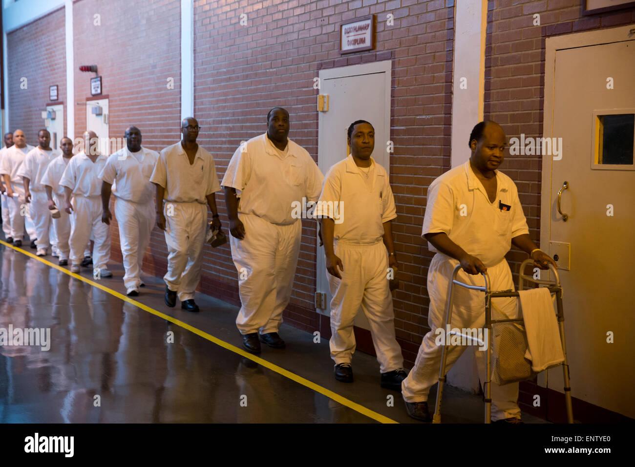 Männliche Häftlinge in das Hochsicherheitsgefängnis Darrington Einheit in Rosharon, Texas, wo sie Stockbild