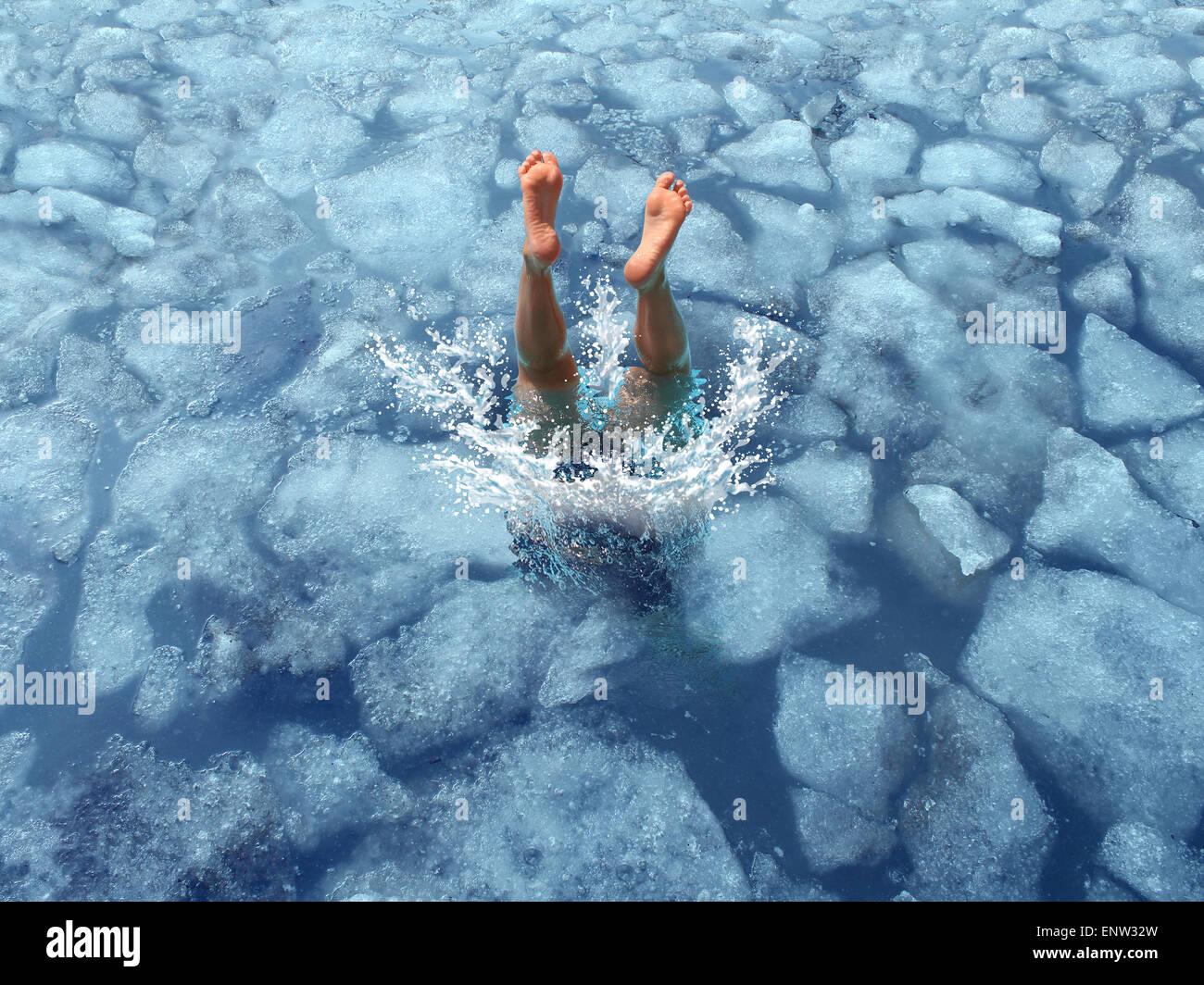 Abkühlen lassen und abkühlen Konzept als Taucher Tauchen in gefrorenem Eis Wasser als Symbol für Stockbild