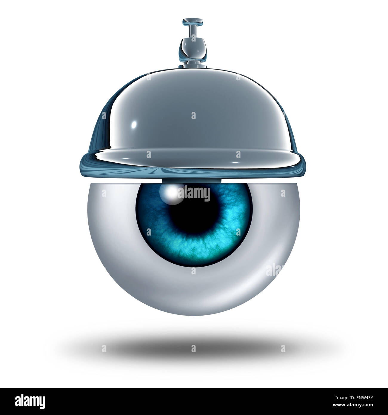 Auge Gesundheit Service-Konzept als menschliche Organ mit einer Service-Glocke als medizinische Metapher und Diagnose Stockbild