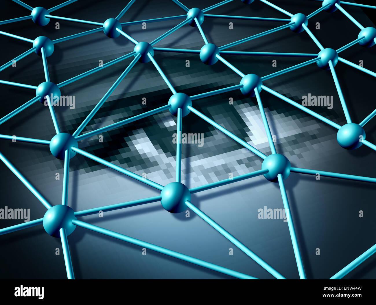 Persönliche Daten und Passwort Login Informationen Technologie Schutzkonzept als ein dreidimensionales Netzwerk Stockbild