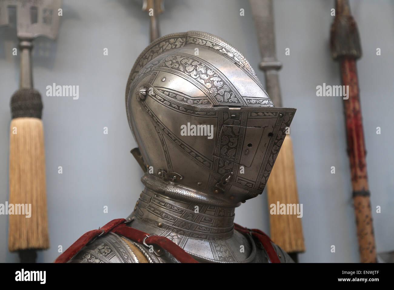 Rüstung. Neuzeit. Europa. 16. Jahrhundert. Detail. Helm. Metropolitan Museum of Art. New York. USA. Stockbild