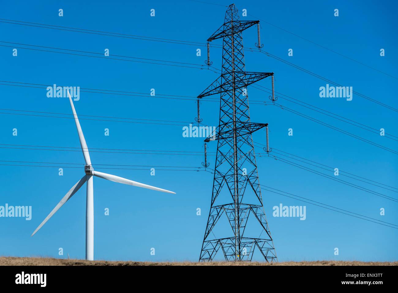 Grüne Energie Wind angetriebene Turbine Strom Pylon Klima Änderung globale Erwärmung Wind Windmühle Stockbild