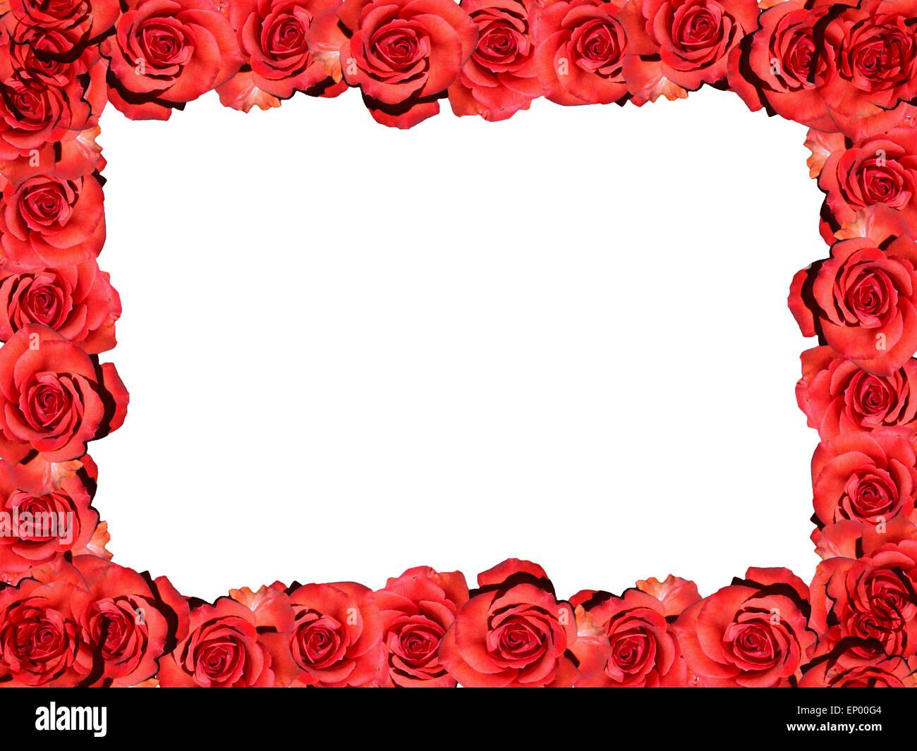 Rahmen: Rote Rosen - Symbolbild Liebe / Valentinstag / Rahmen: rote ...