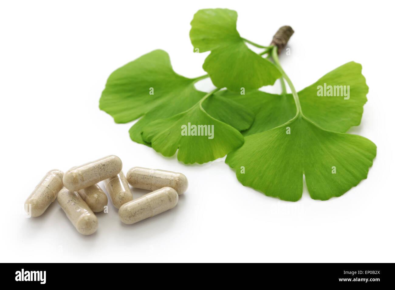 Ginkgo Biloba Blätter und Medizin Kapsel Pillen Stockbild