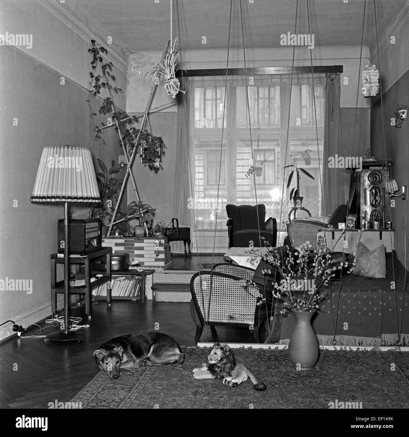 Typische Einrichtung In Einem Wohnzimmer, 1950er Jahre Deutschland. Moderne  Inneneinrichtung Eines Wohnzimmers, Deutschland Der 1950er Jahre.