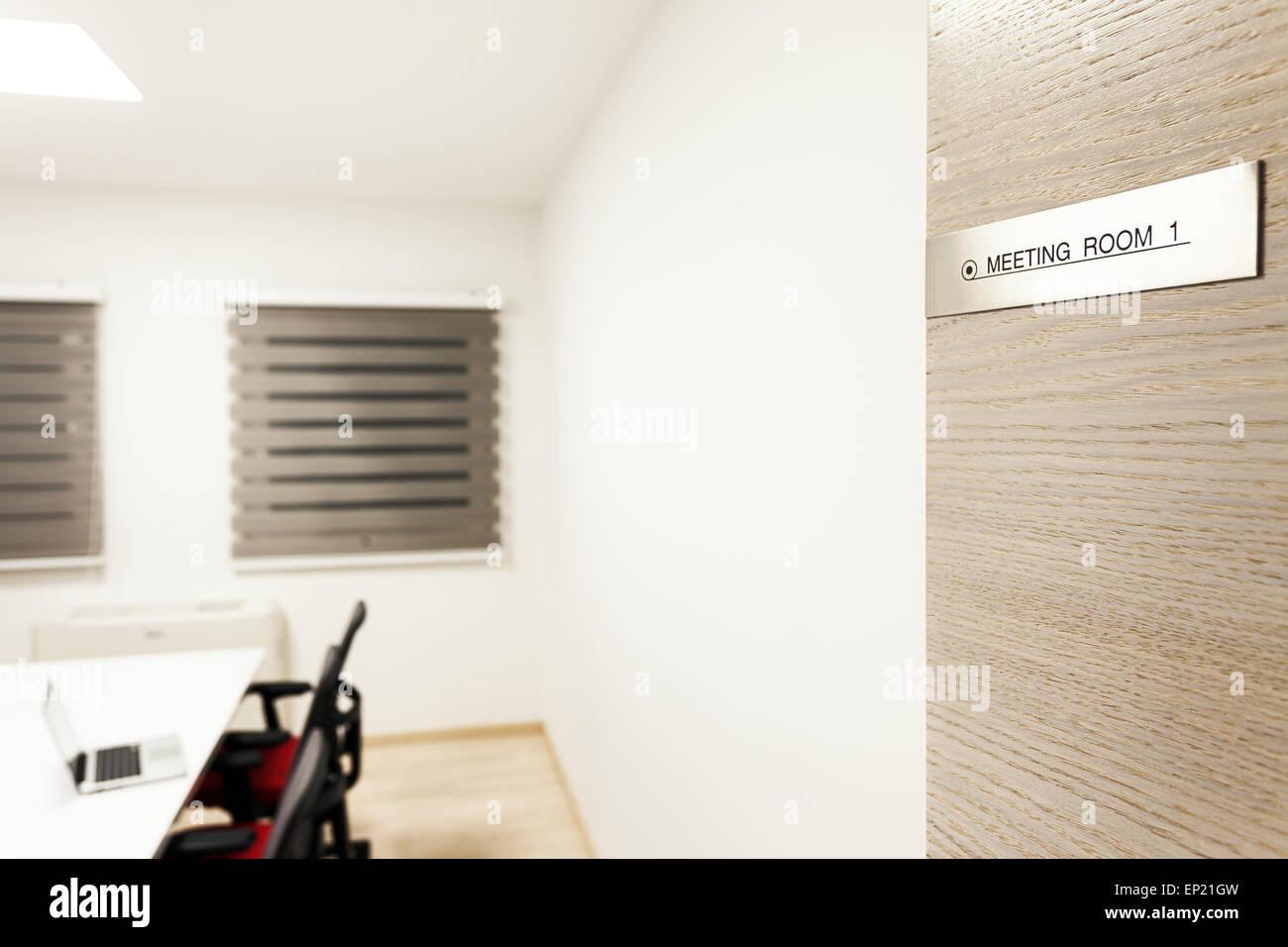 Details zu einen modernen Tagungsraum in weiß. Stockbild