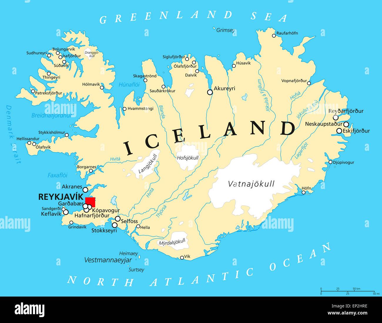 Politische Landkarte Von Island Stockfotografie Alamy