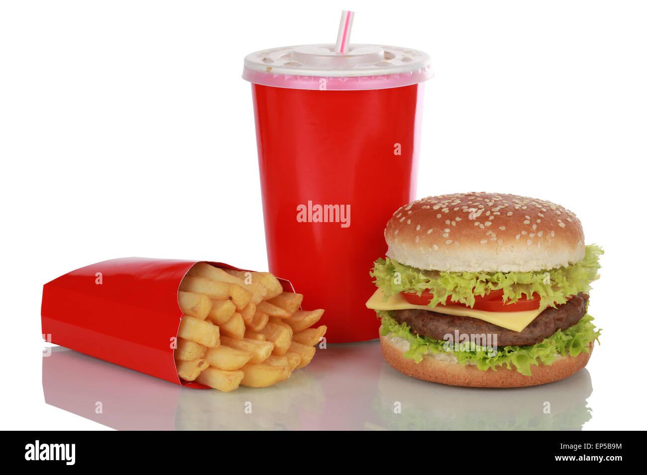 Cheeseburger Menü isoliert Stockbild