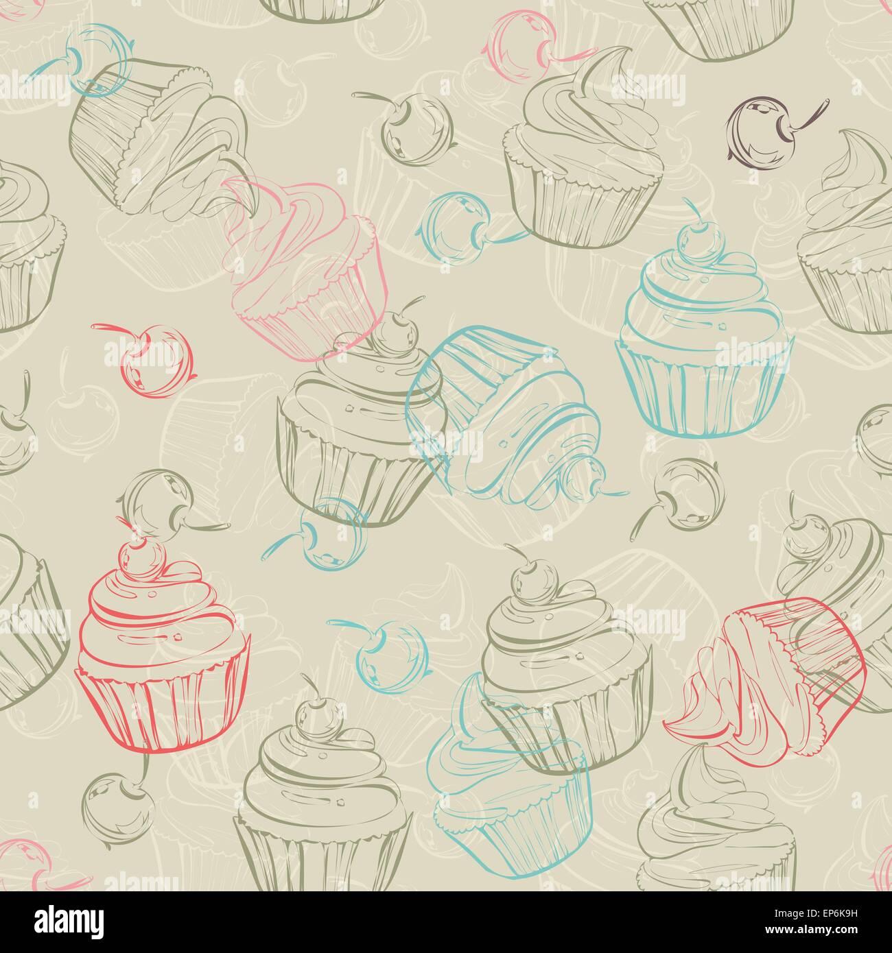Nahtlose Muster Mit Sussen Muffins Und Beeren Im Vintage Stil