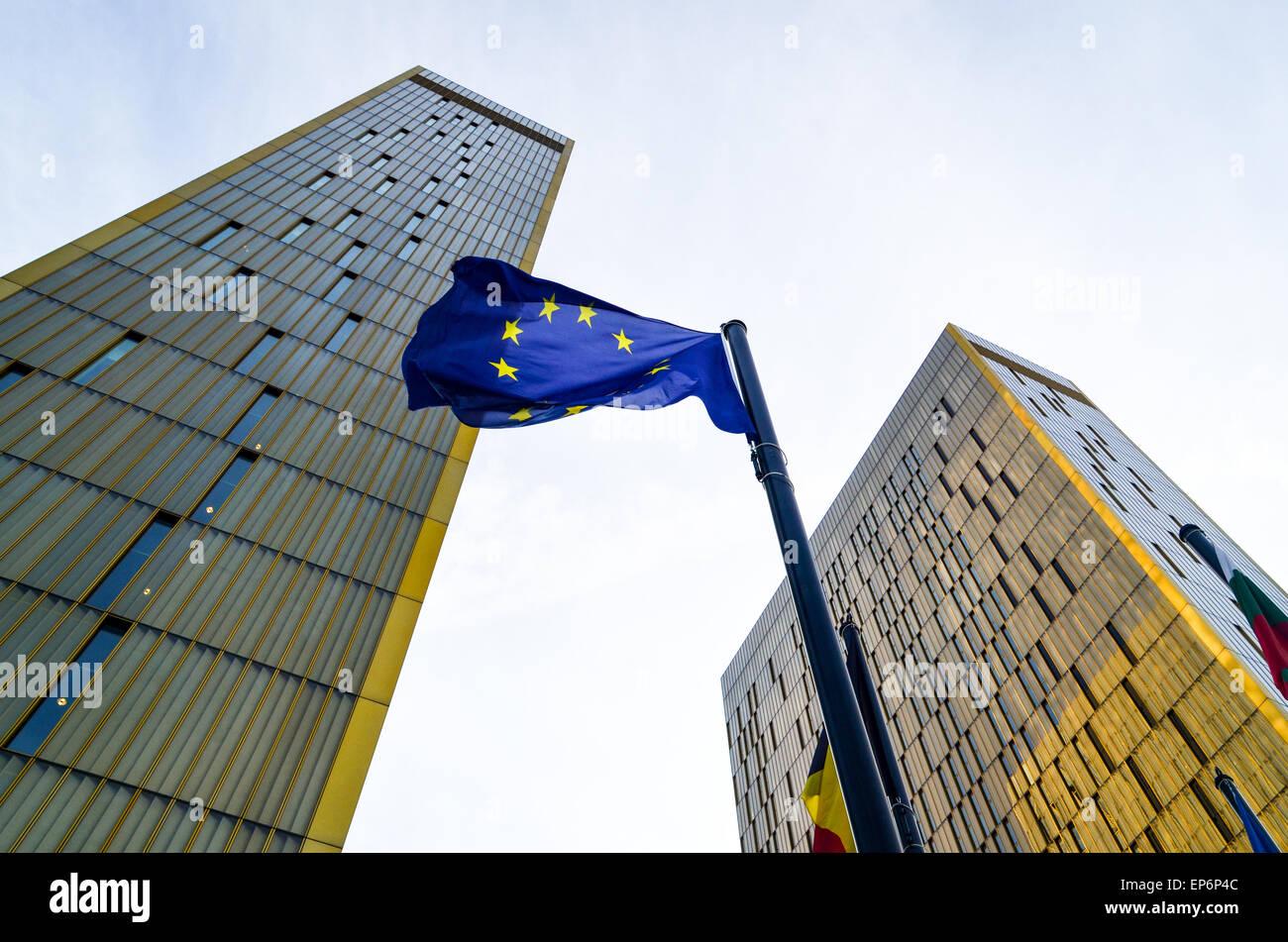 Goldene Zwillingstürme des Gerichtshofs der Europäischen Union, im Europäischen Viertel, Kirchberg, Stockbild