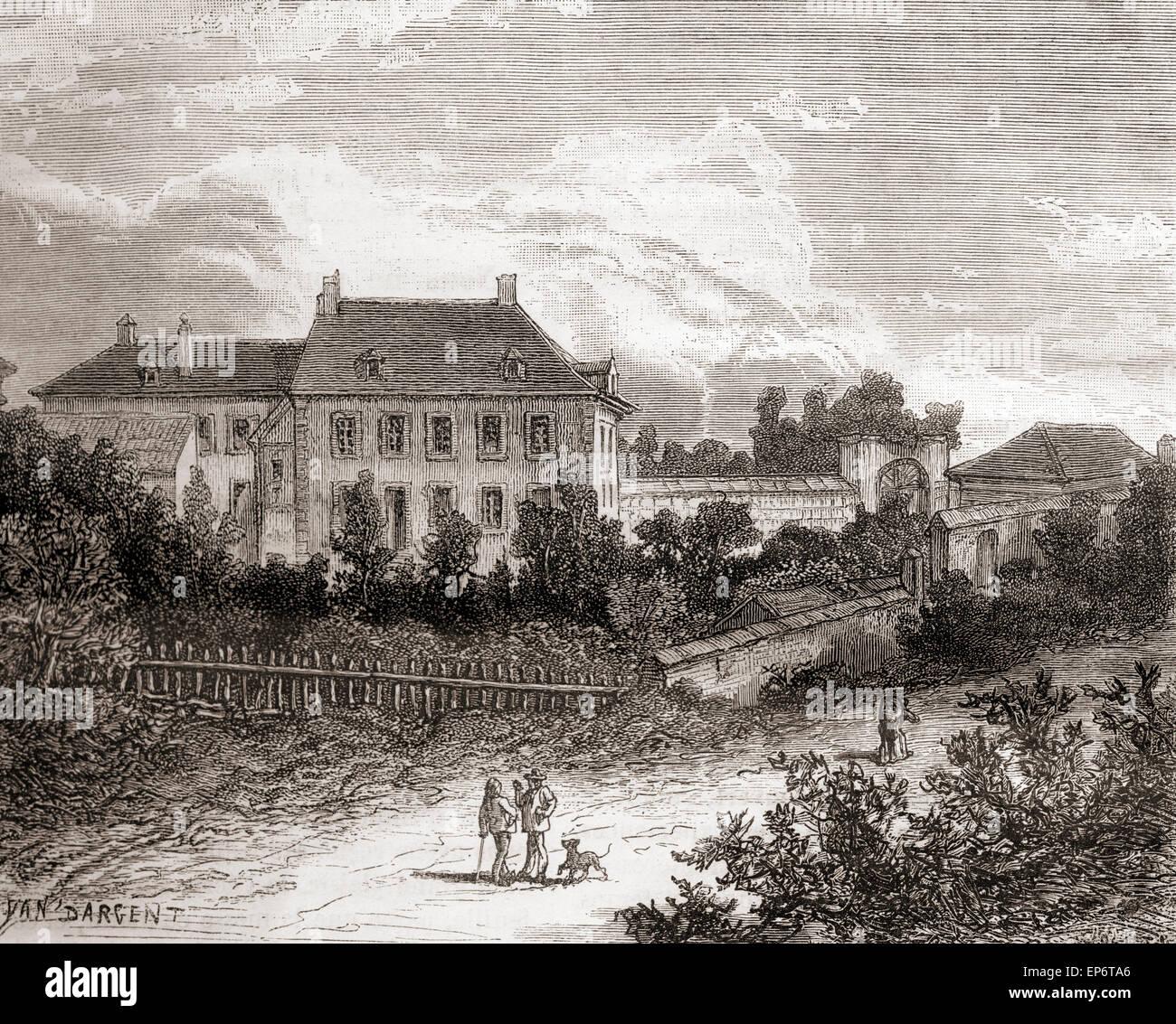 Das Haus am Gras, in der Nähe von Chalon-Sur-Saône, Frankreich dem französischen Erfinder Nicéphore Stockbild
