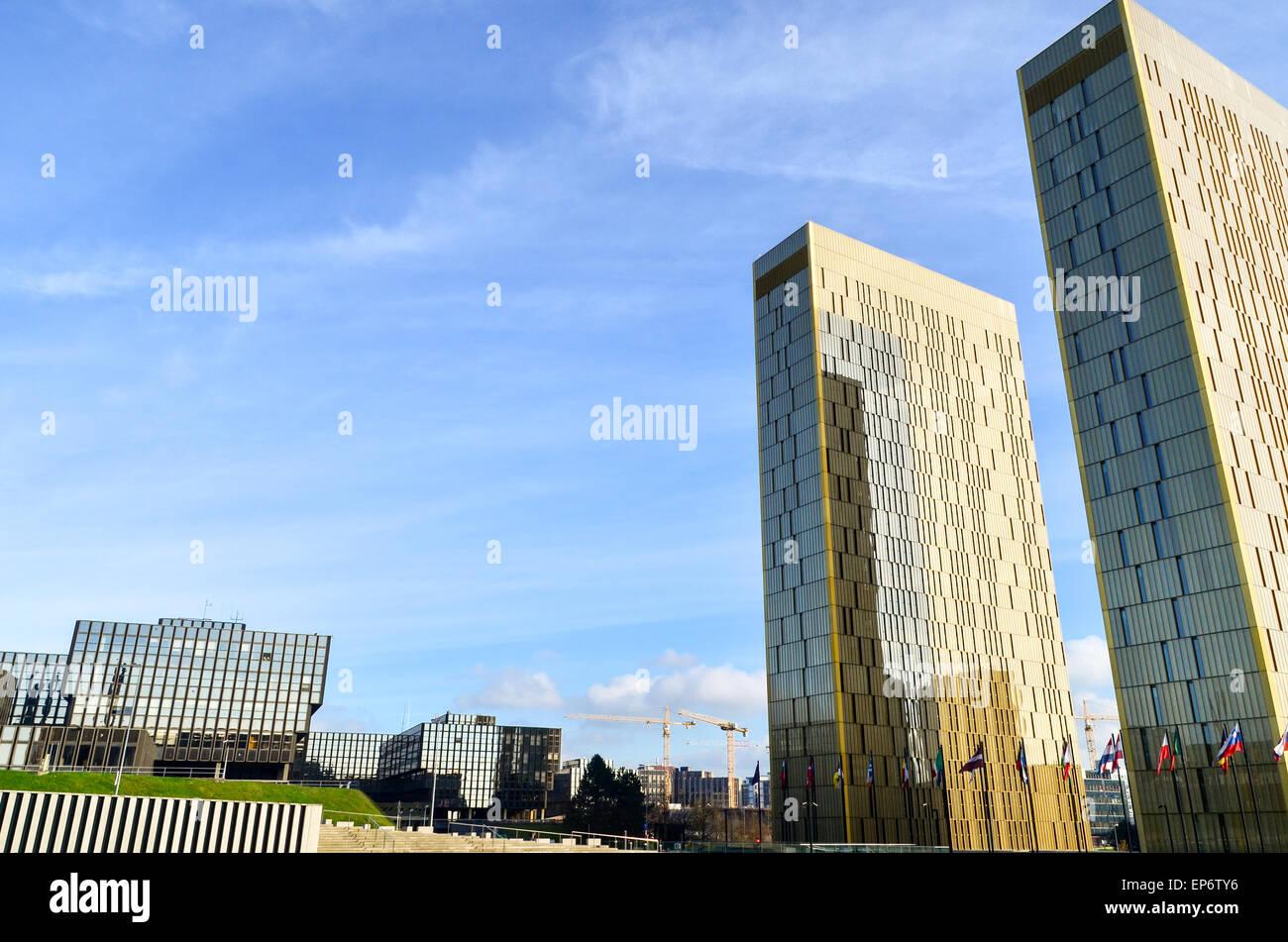 Zwillingstürme des Gerichtshof der Europäischen Union und der Europäischen Kommission im Europaviertel, Stockbild