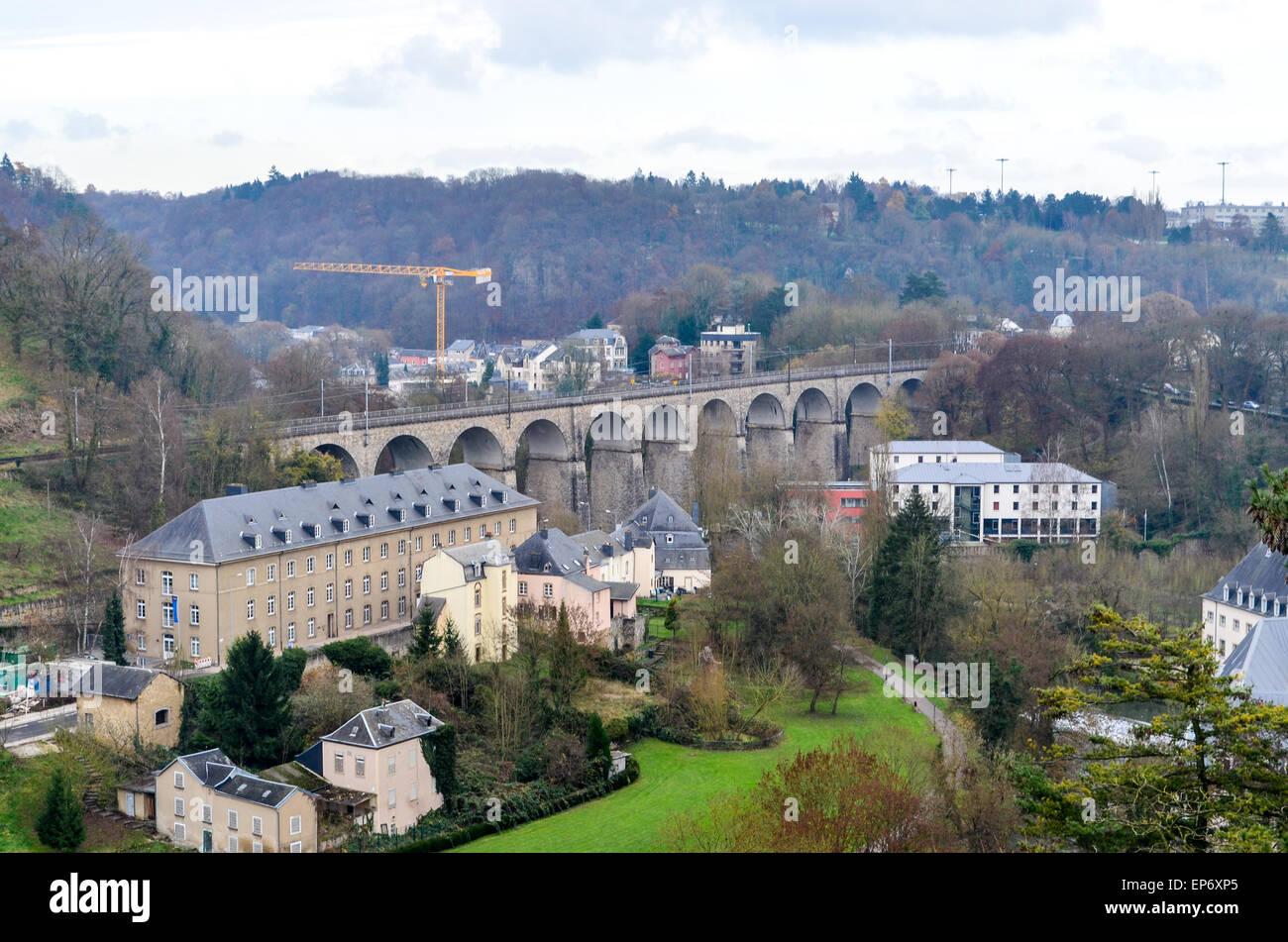 Luxemburg-Stadt, das Tal der Alzette Stockbild