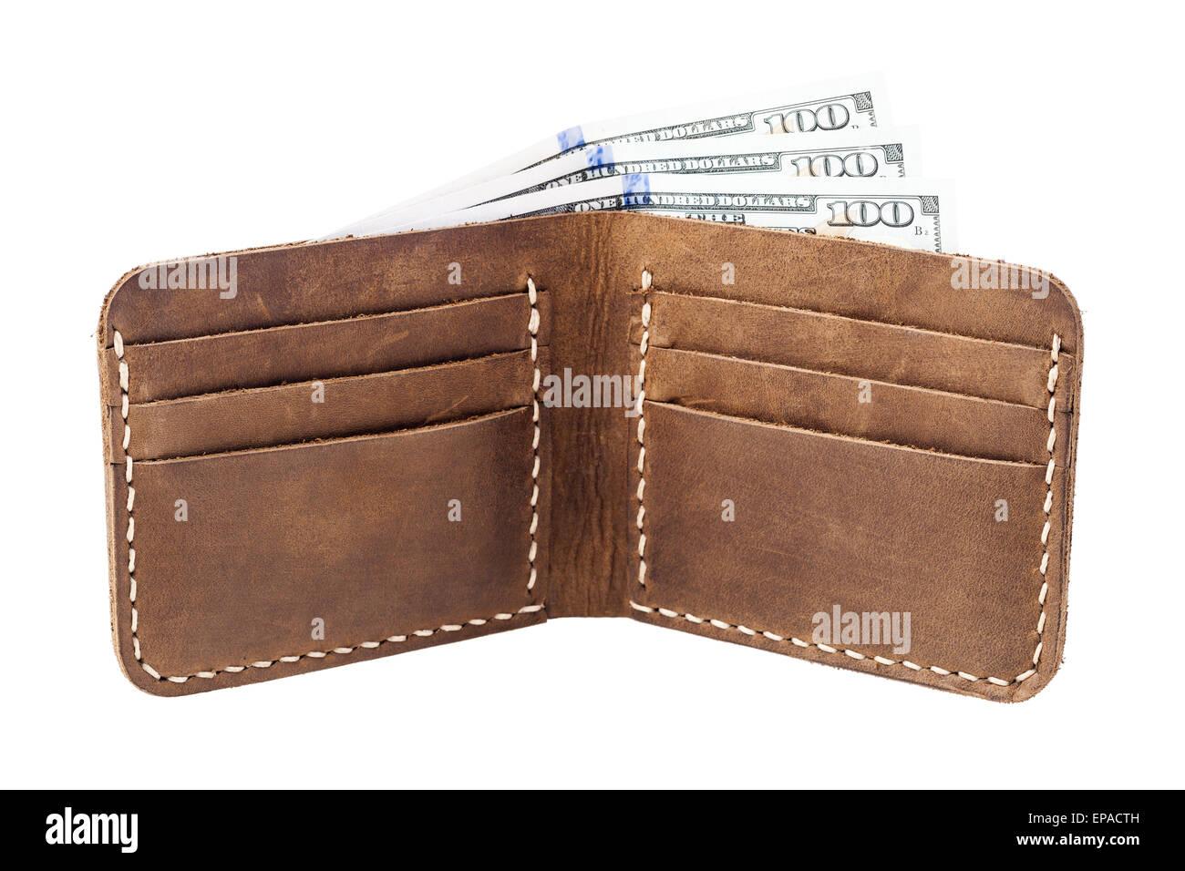 braune leder portemonnaie mit geld isoliert auf weiss stockfoto bild 82593521 alamy. Black Bedroom Furniture Sets. Home Design Ideas