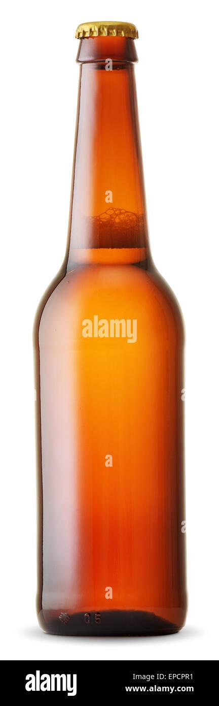braune Bierflasche isoliert auf weißem Hintergrund Stockbild