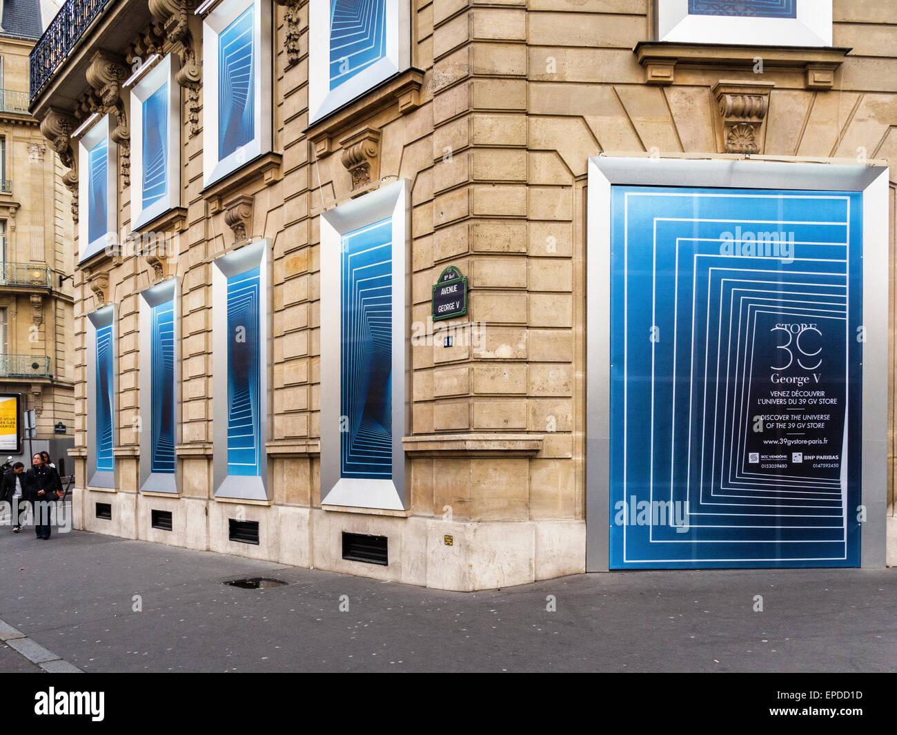 39 GV Store Shop Exterieur, Avenue George V, Paris, Stockbild