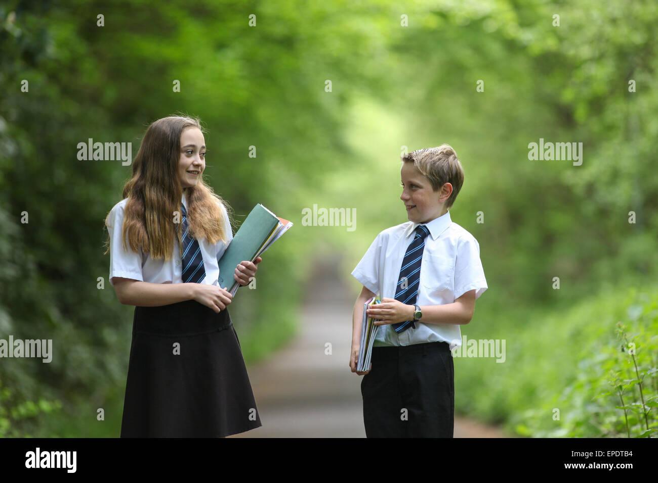 Schüler in der einheitlichen Schule UK Stockfoto