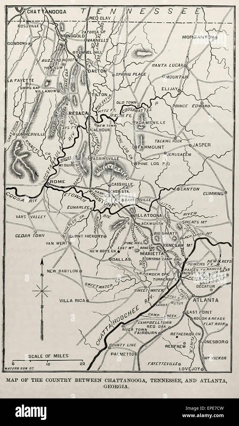 Karte Des Landes Zwischen Chattanooga Tennessee Und Atlanta