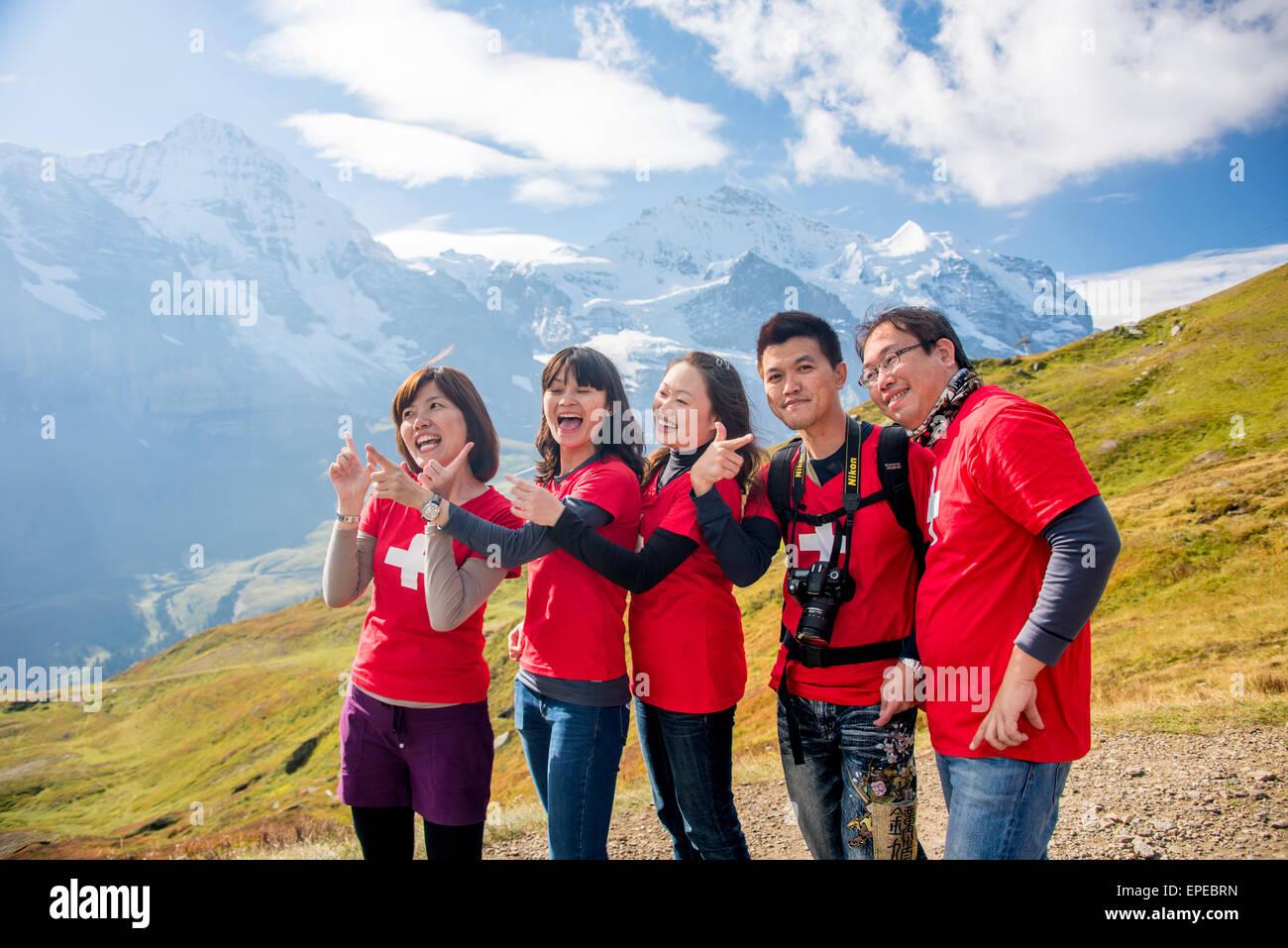 Asiaten in Grindelwald, Schweiz Stockbild