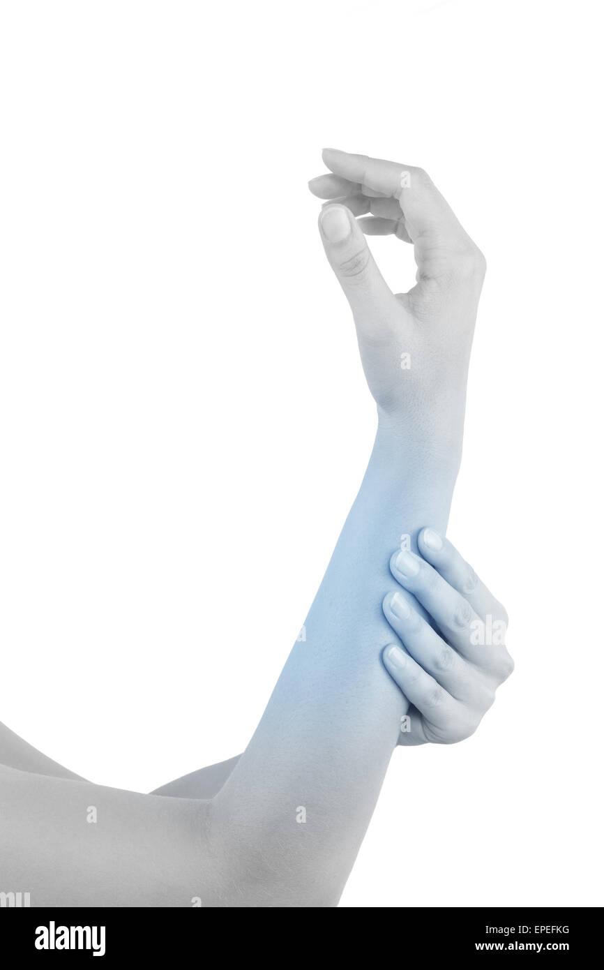 Unterarm-Muskel-Belastung. Weibliche Hand berührt Unterarm mit ...