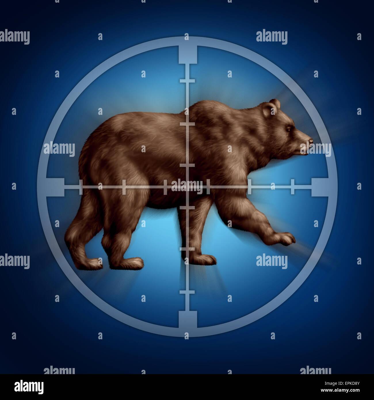 Bär Markt Ziel Geschäftskonzept als Ikone des Zielens Investor Zweifel und Misstrauen gegenüber der Stockbild