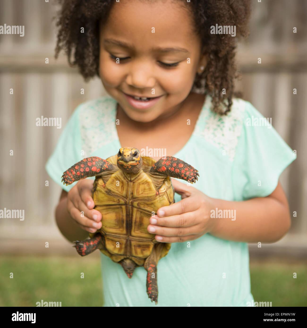 Ein Kind hält eine Schildkröte. Stockbild