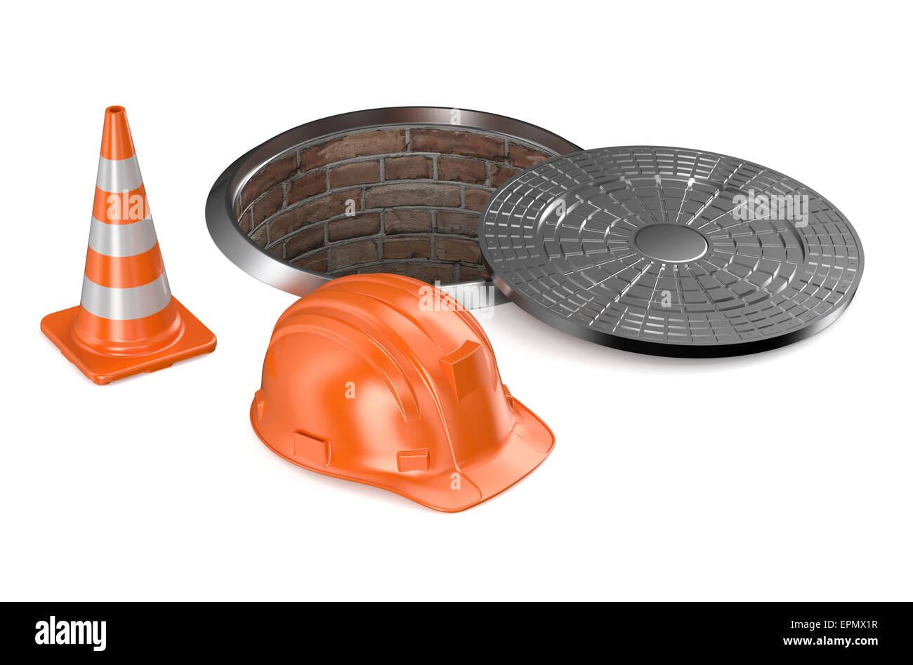 Road repair concept stockfotos