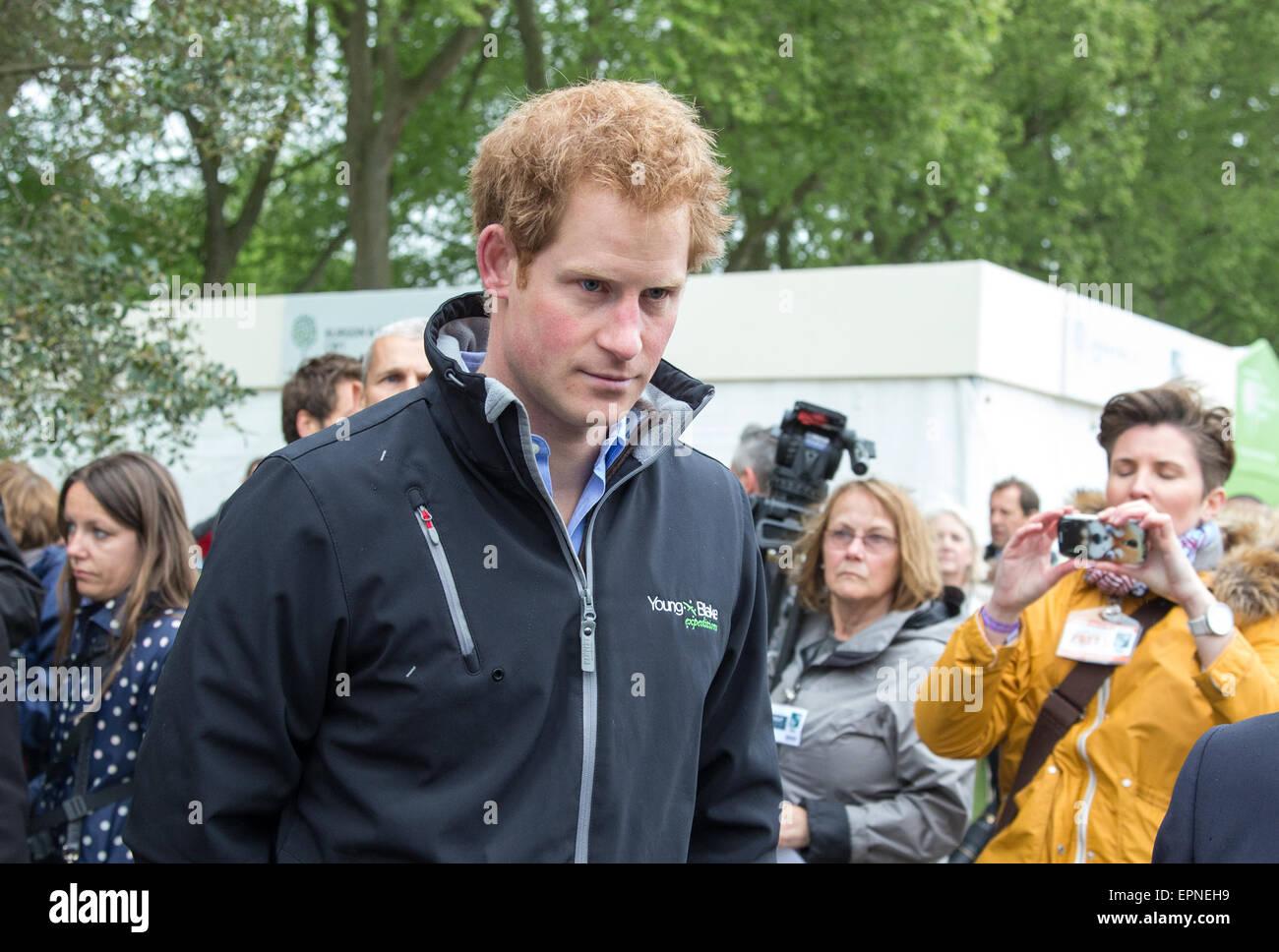 Seine königliche Hoheit Prinz Harry auf der Chelsea Flower show besuchen Sentebale Nächstenliebe Garten Stockbild