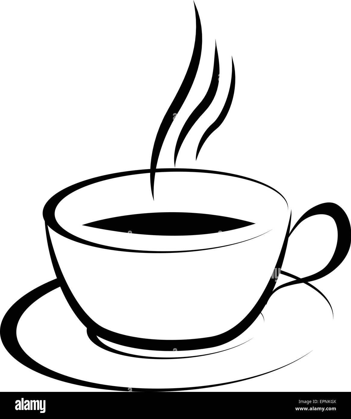 Darstellung Der Schwarzen Und Weißen Kaffeetasse Zeichnen Vektor