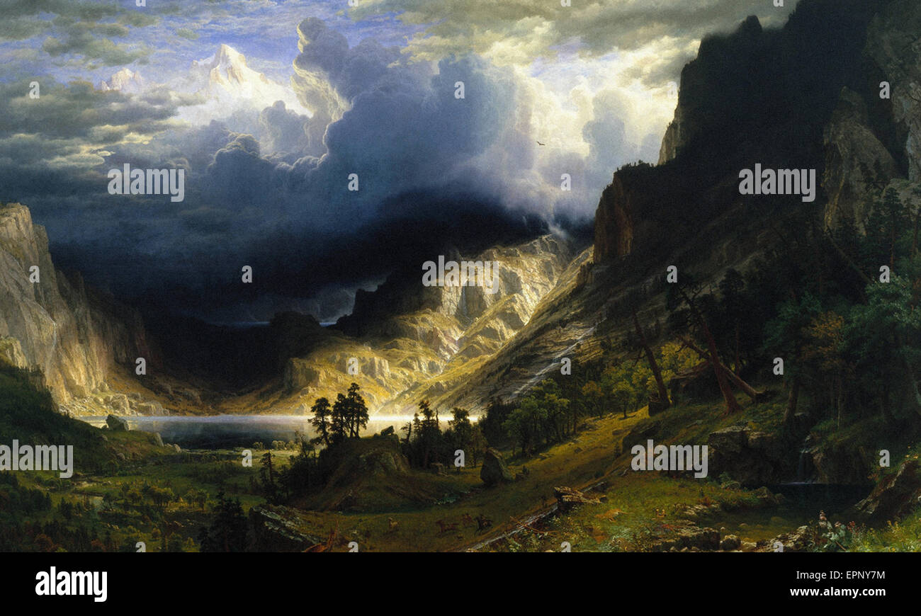 Albert Bierstadt A Storm in den Rocky Mountains, Mt. Rosalie Stockbild