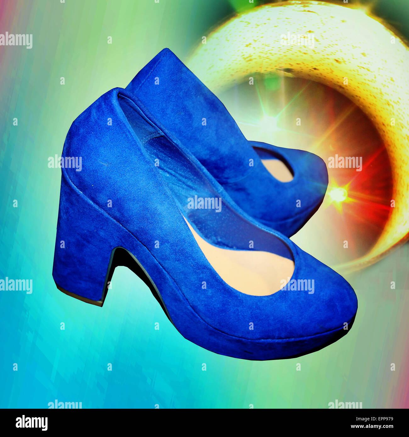 Farben, blau, gelb, moderne, zeitgenössische Schuhe, zeitgenössische ...