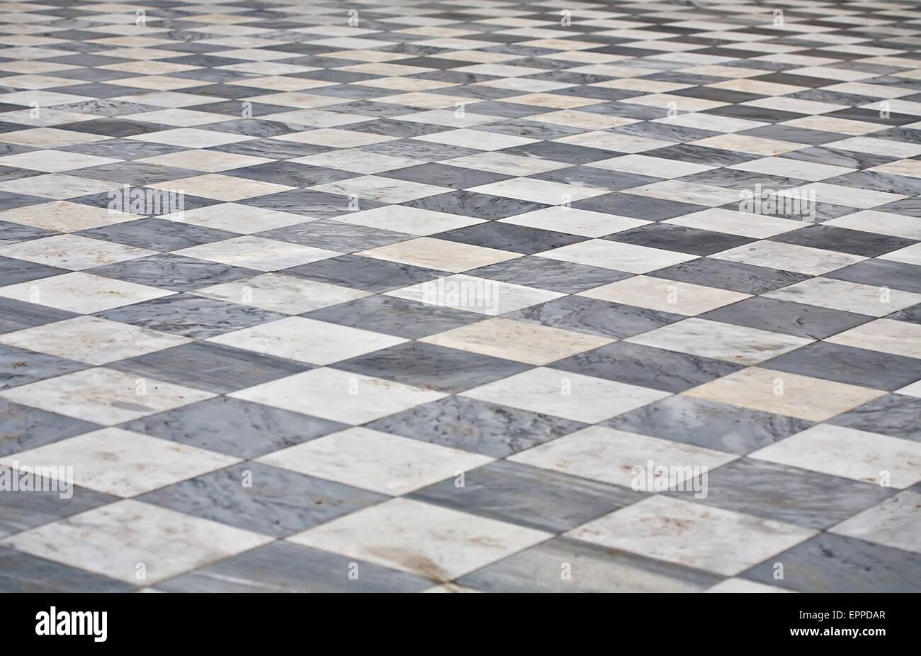Schwarze Und Weisse Marmor Quadratmeter Boden Muster Perspektivische