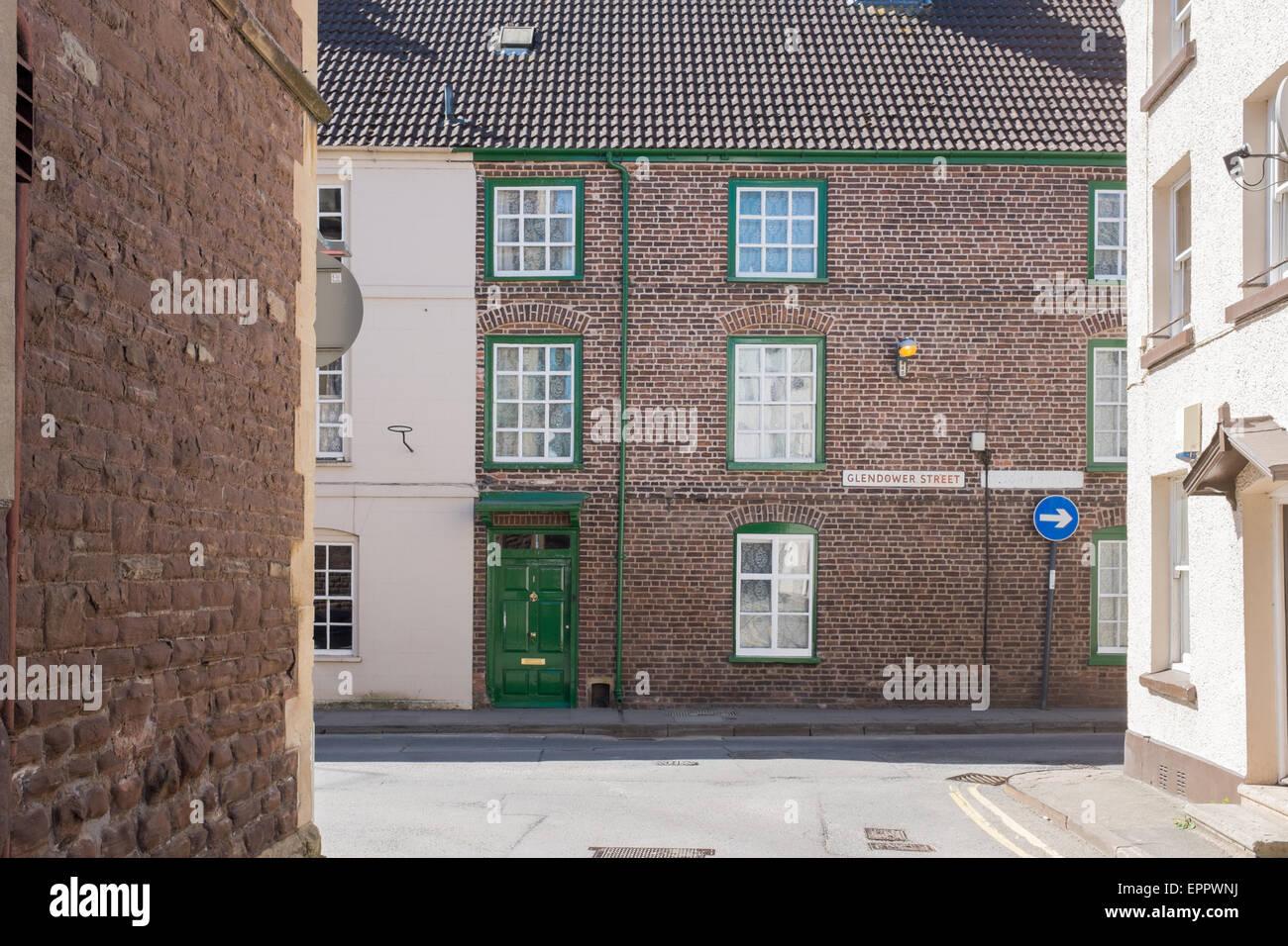 Markante gemauertes Haus in Glendower Straße, Monmouth, Wales Stockbild