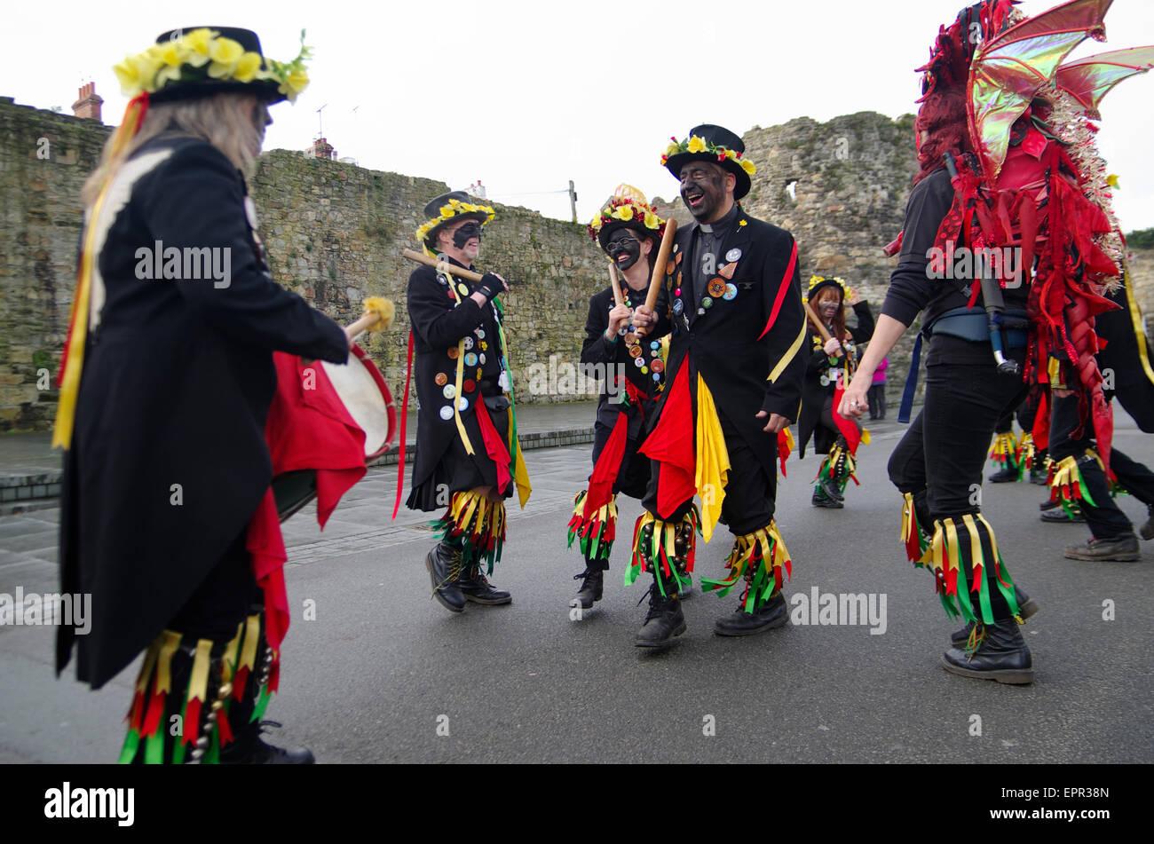 Morris Dancers, Schreibfehler, Conwy, North East Wales Stockbild