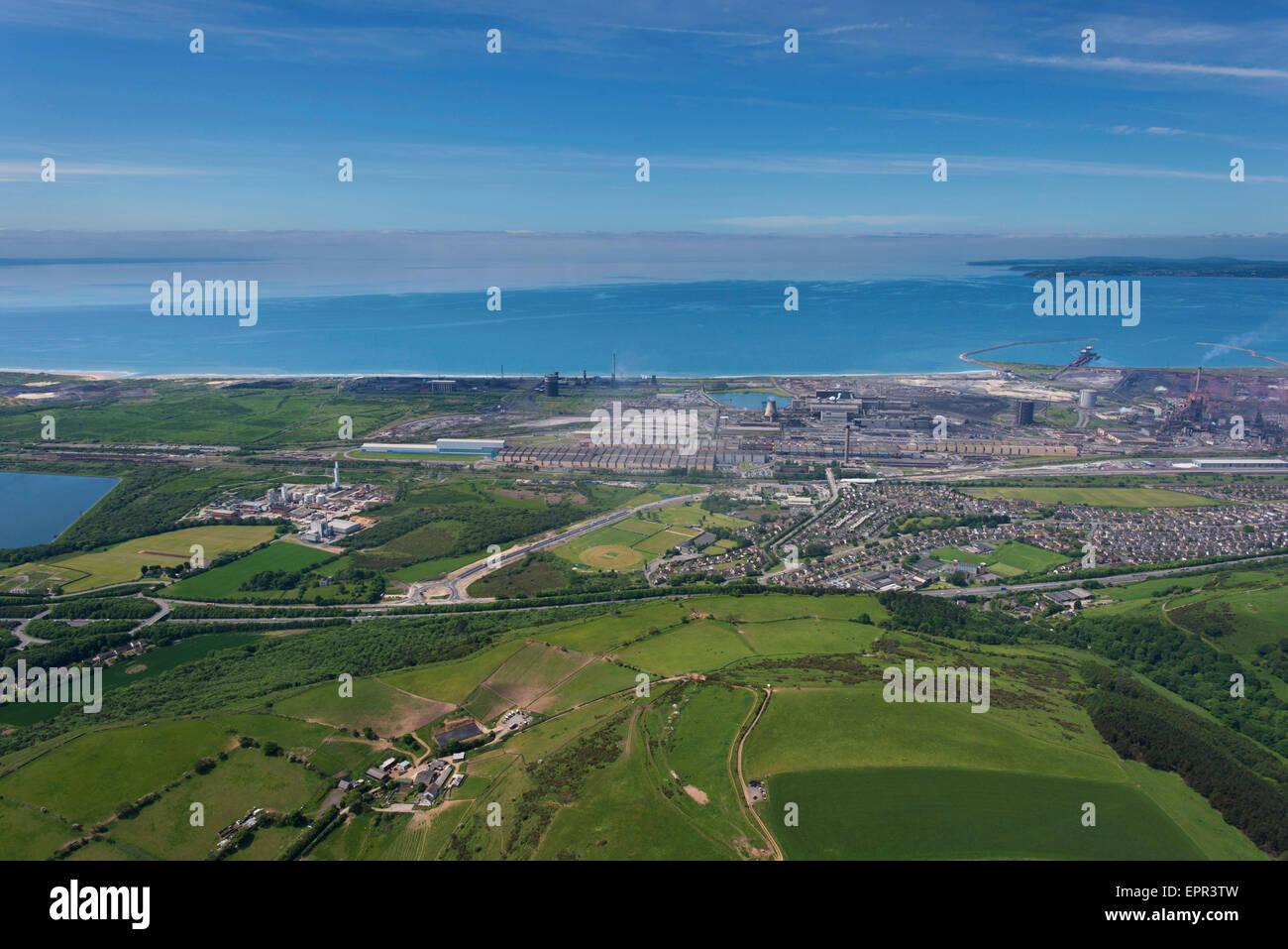 Antenne, Port Talbot Stahlwerke Corus Stockfoto