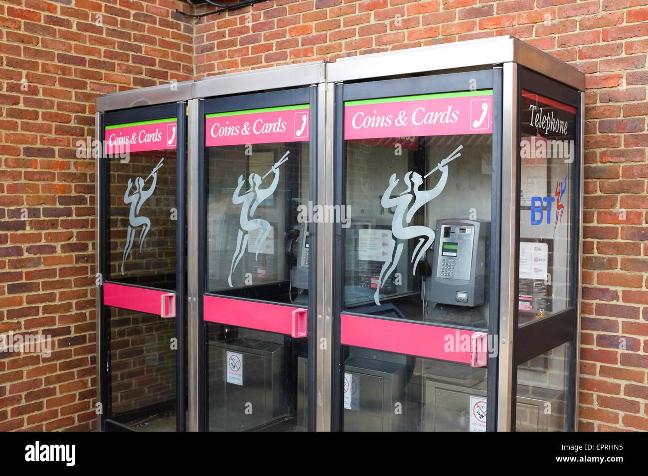 Britische Telefonzellen. Stockbild