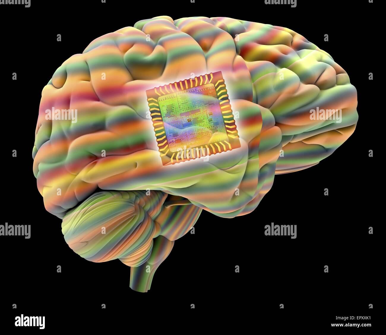 Künstliche Intelligenz und Kybernetik, Konzeptbild. Dieses Bild von einem Computerchip, überlagert ein Stockbild