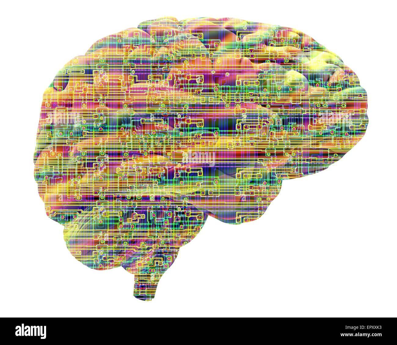 Künstliche Intelligenz und Kybernetik, Konzeptbild. Dieses Bild einer Computer-Chip-Struktur überlagert Stockbild