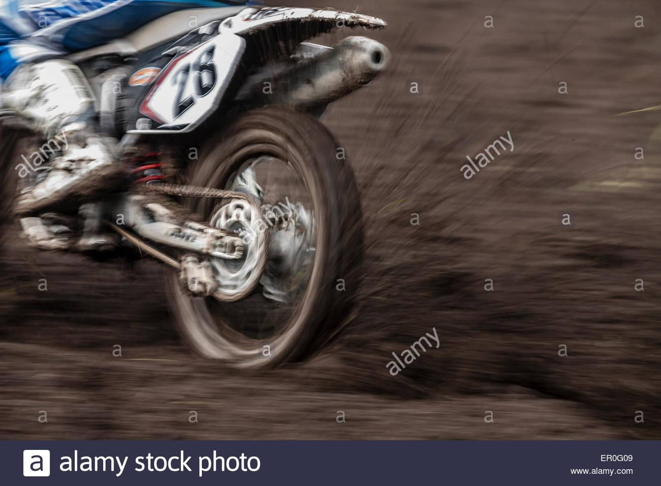 Motorsport Motocross Motorrad Fahrer Stockbild
